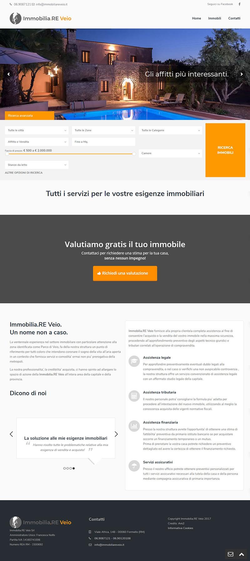 immobiliareveio.it - portfolio sito arsdue
