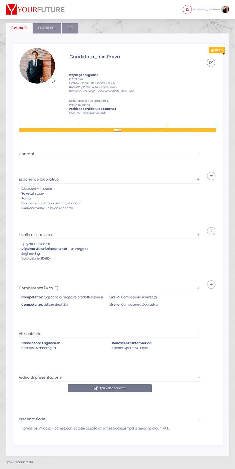 yourfuture.careers candidato - portfolio app arsdue